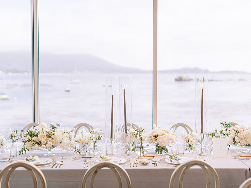 Wedding reception table overlooking Stillwater Cove