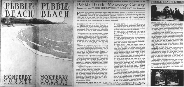 announcement for a summer resort at Pebble Beach in 1907