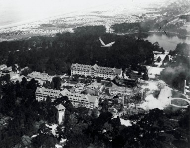 main building of Hotel Del Monte burning