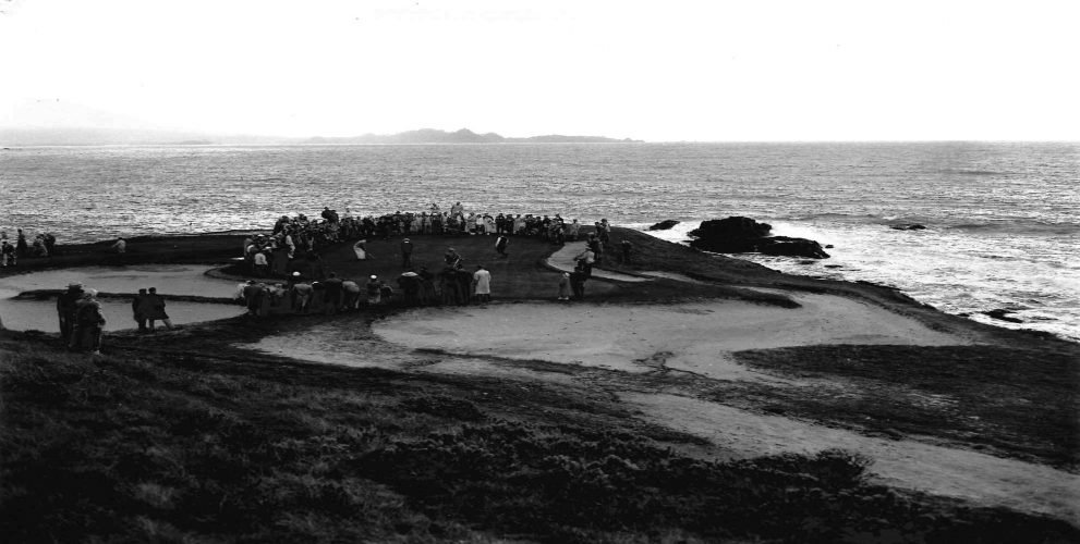 The gallery crowds the seventh green during the 1952 Bing Crosby National Pro-Am.