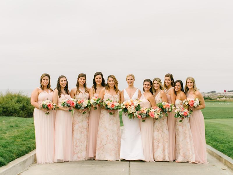Bride and ten bridesmaids lined up at Spanish Bay