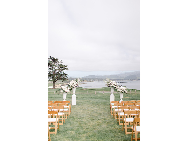 Empty ceremony setting on the 18th lawn of Pebble Beach Golf Links