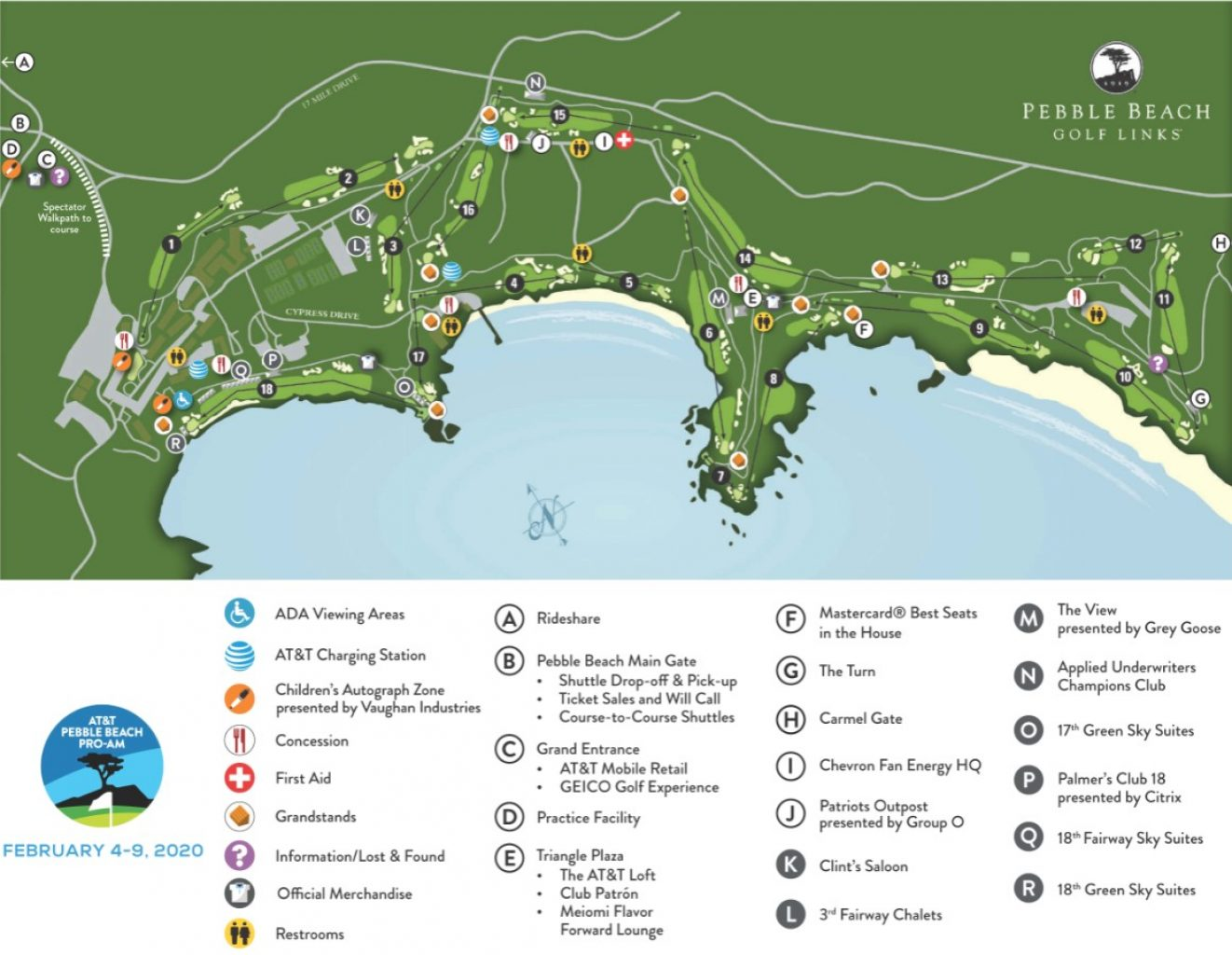 Map of Pebble Beach Golf Links AT&T Event