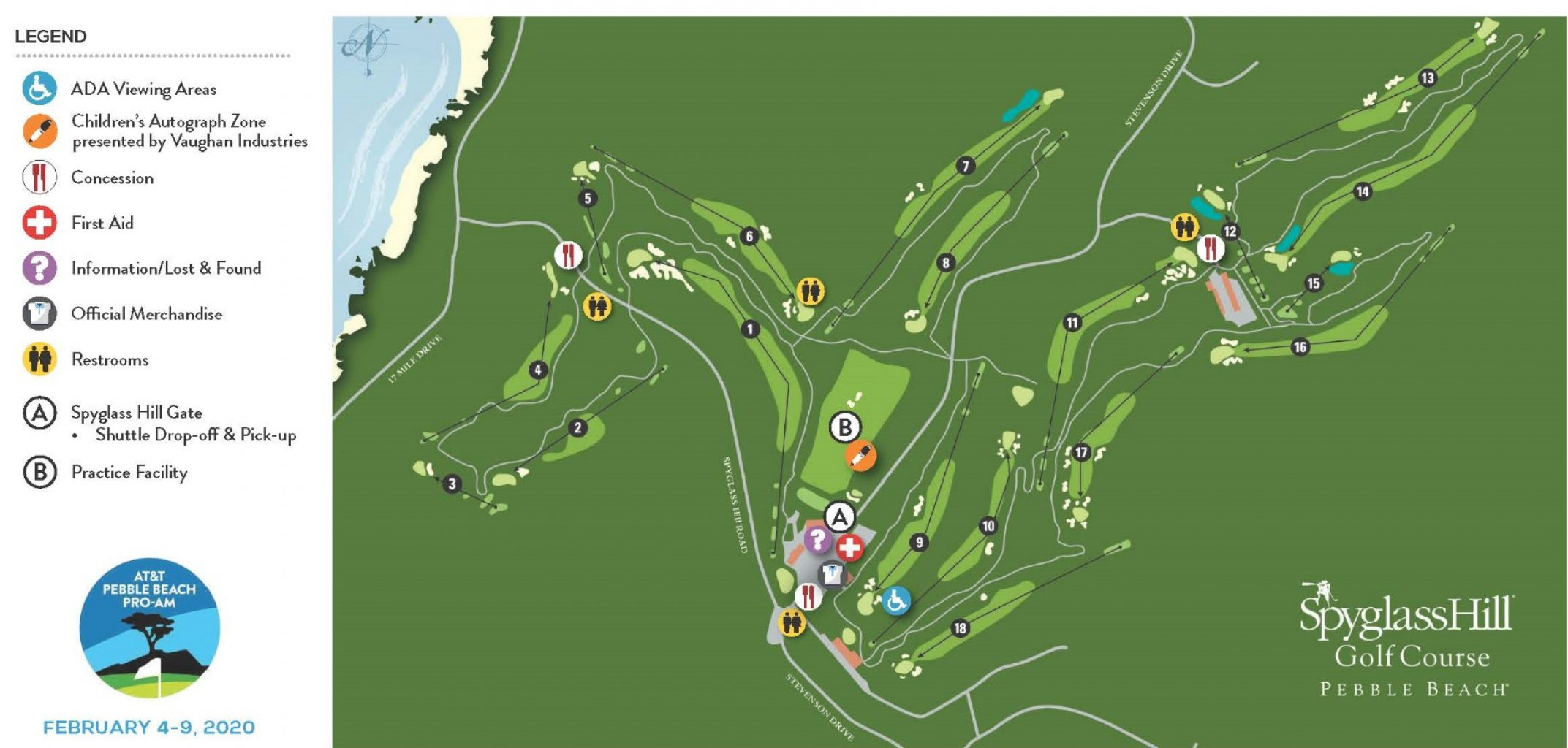 Map of Spyglass Golf Course AT&T Event