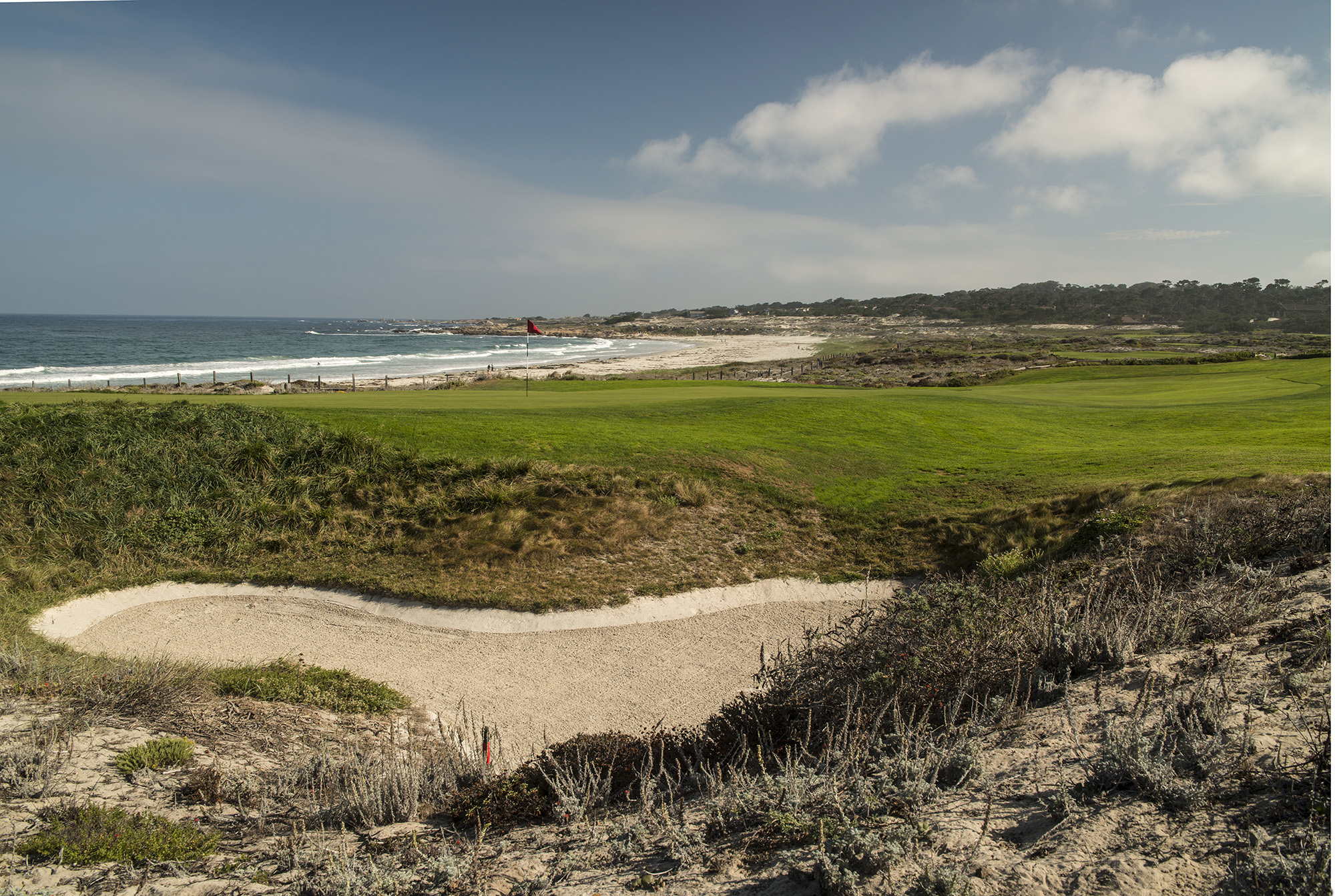 Looking toward the beach from beyond the 17th green at The Links at Spanish Bay