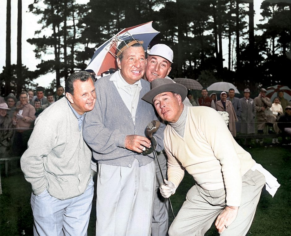 Phil Harris wearing an umbrella hat at the 1954 AT&T Pebble Beach Pro-Am