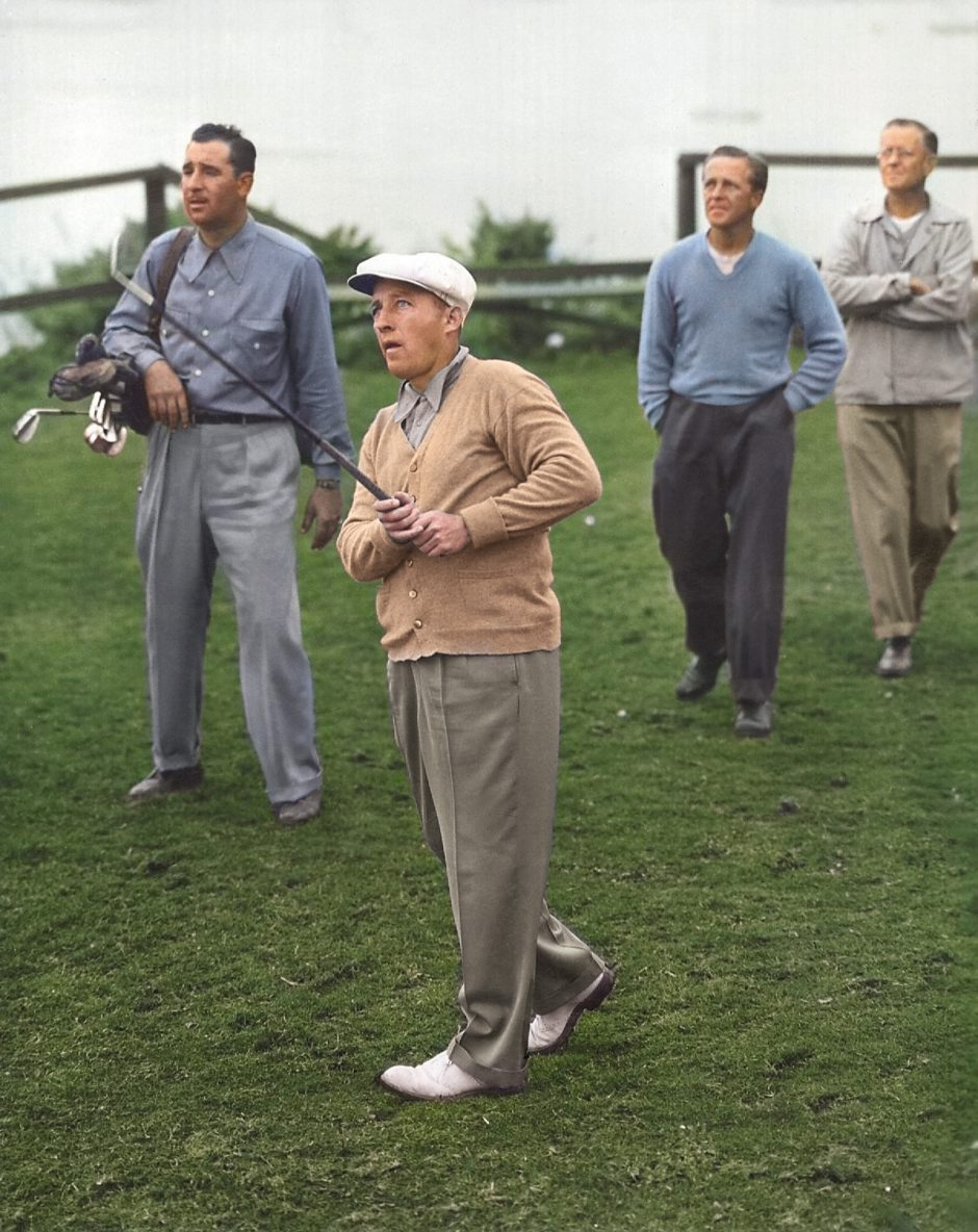 Bing Crosby tees off on the 7th tee of Pebble Beach Golf Links in 1946.