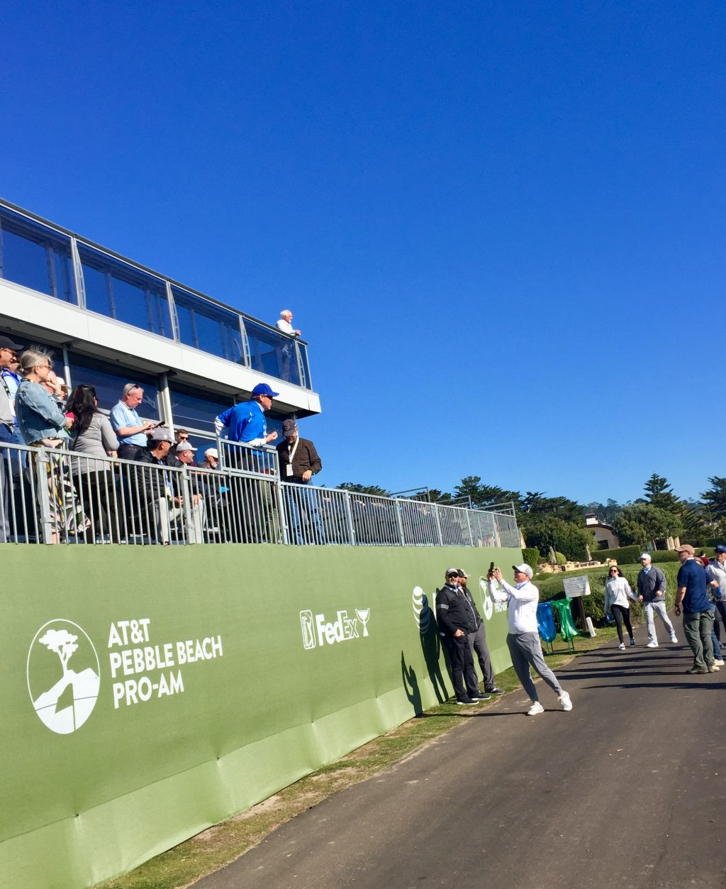 A ball in the Palmer's Club 18 grandstands at the 2020 AT&T Pebble Beach Pro-Am