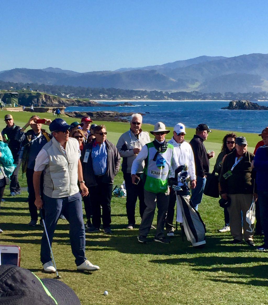 Jay Monohan sets up a shot at the 2020 AT&T Pebble Beach Pro-Am