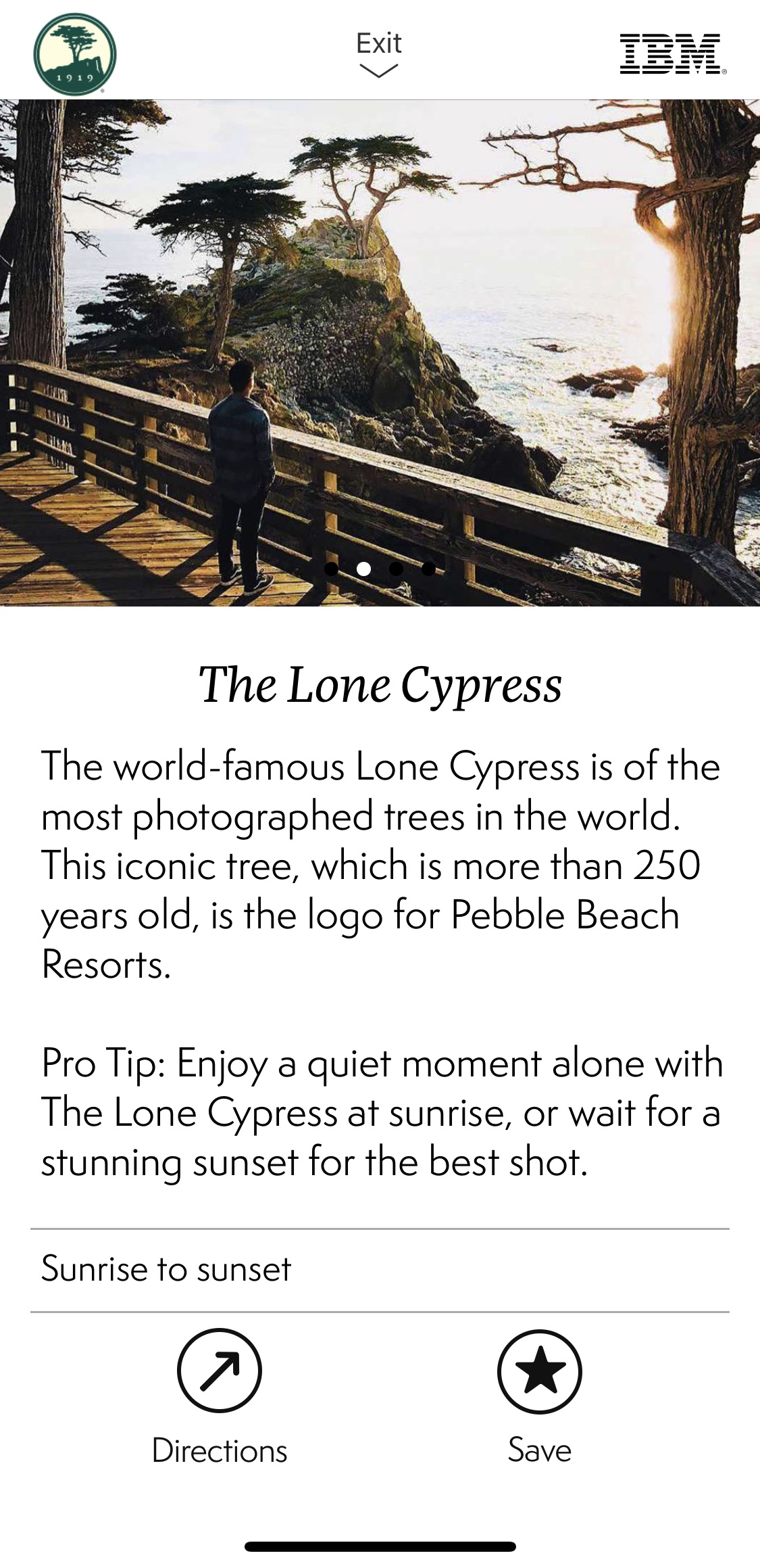The Lone Cypress Pro Tip in the app