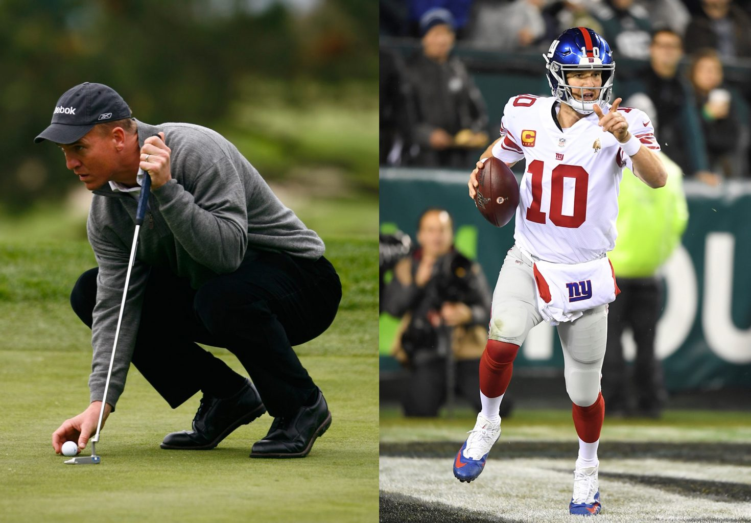 Peyton Manning setting up a golf ball and Eli Manning running holding a football