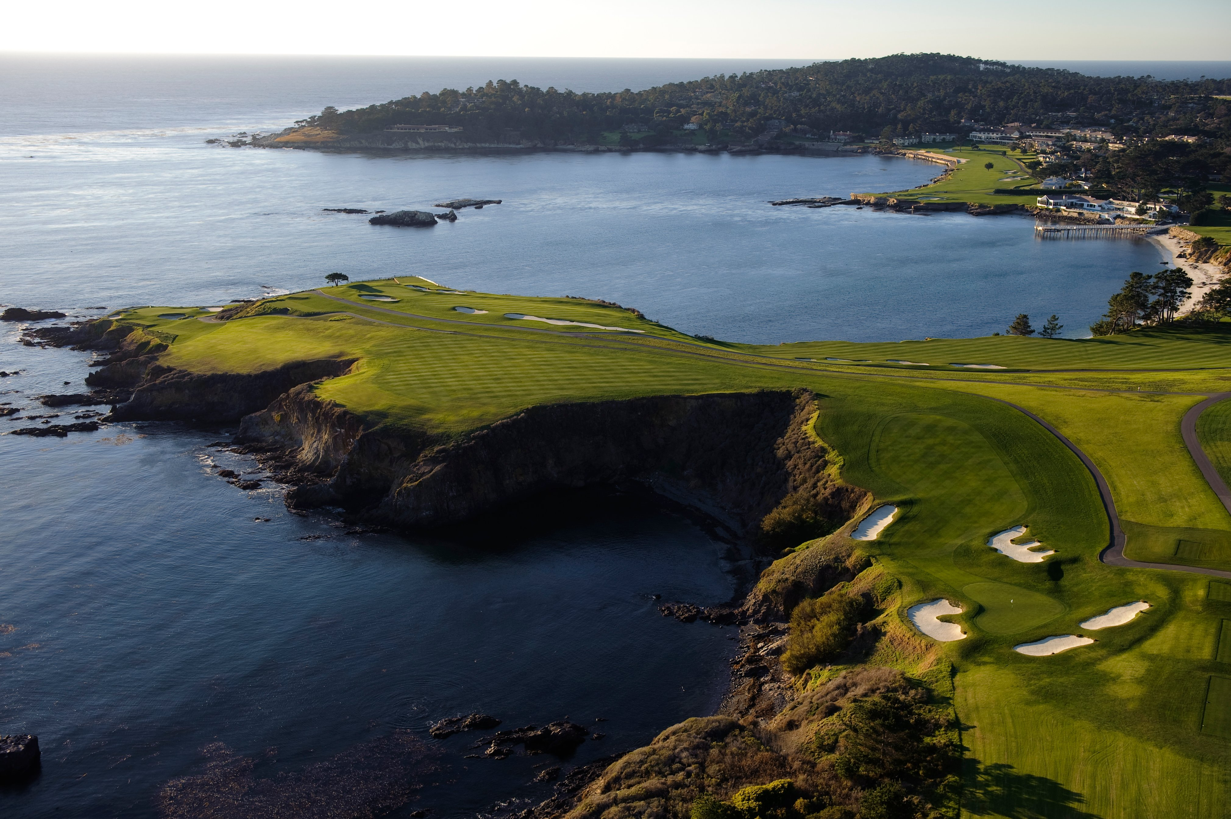 Aerial of eighth hole at Pebble Beach