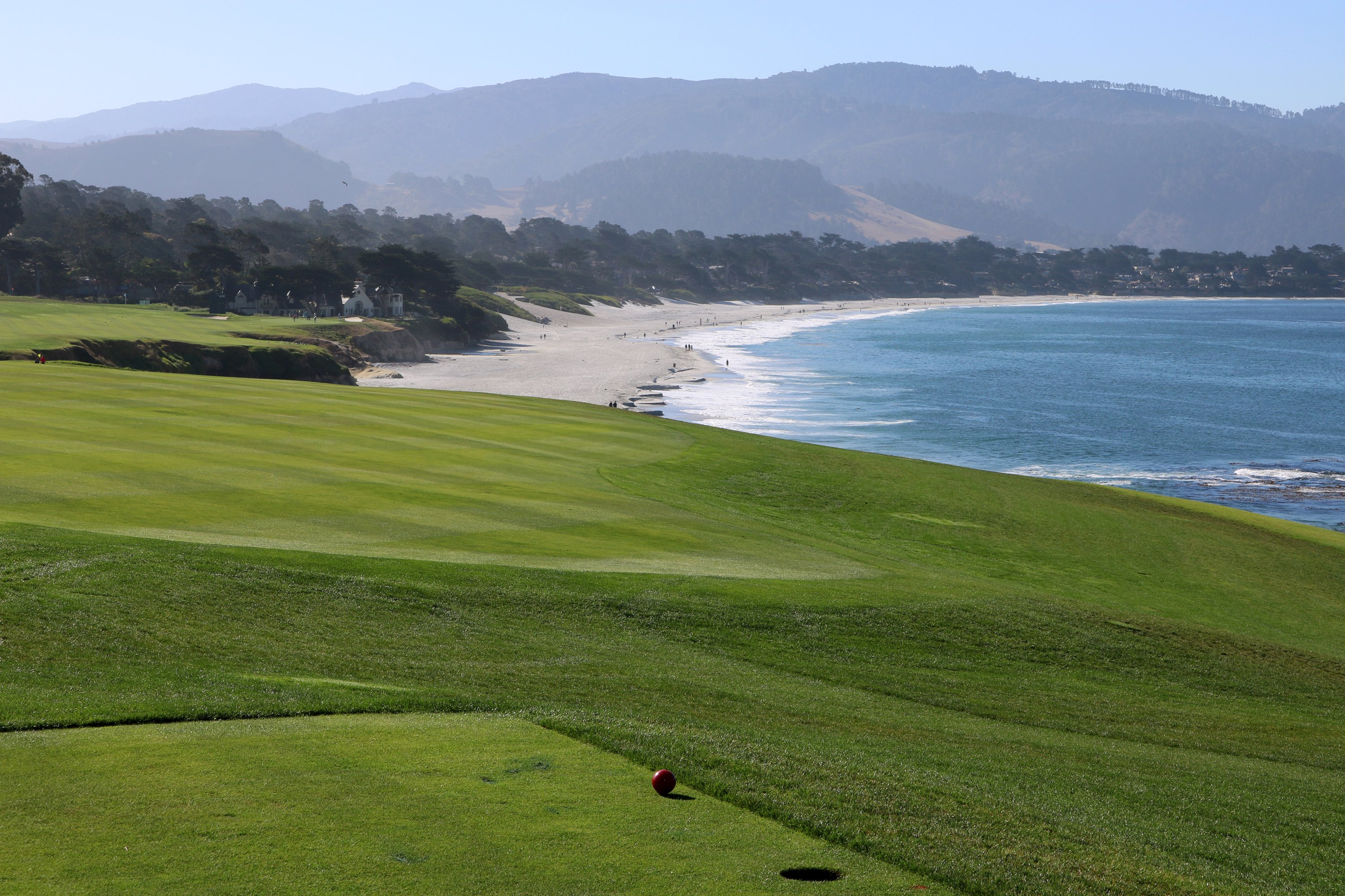 Blues skies, warm weather and a scenic view near the 9th hole of Pebble Beach Golf Links