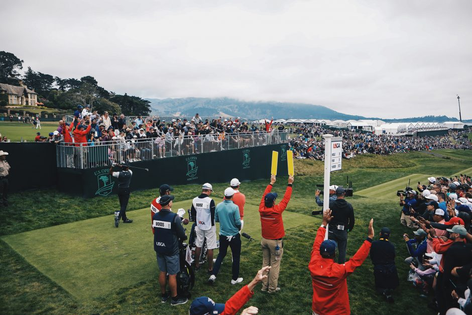Grandstands fill up a good 45 minutes before Tiger Woods arrives at each hole.