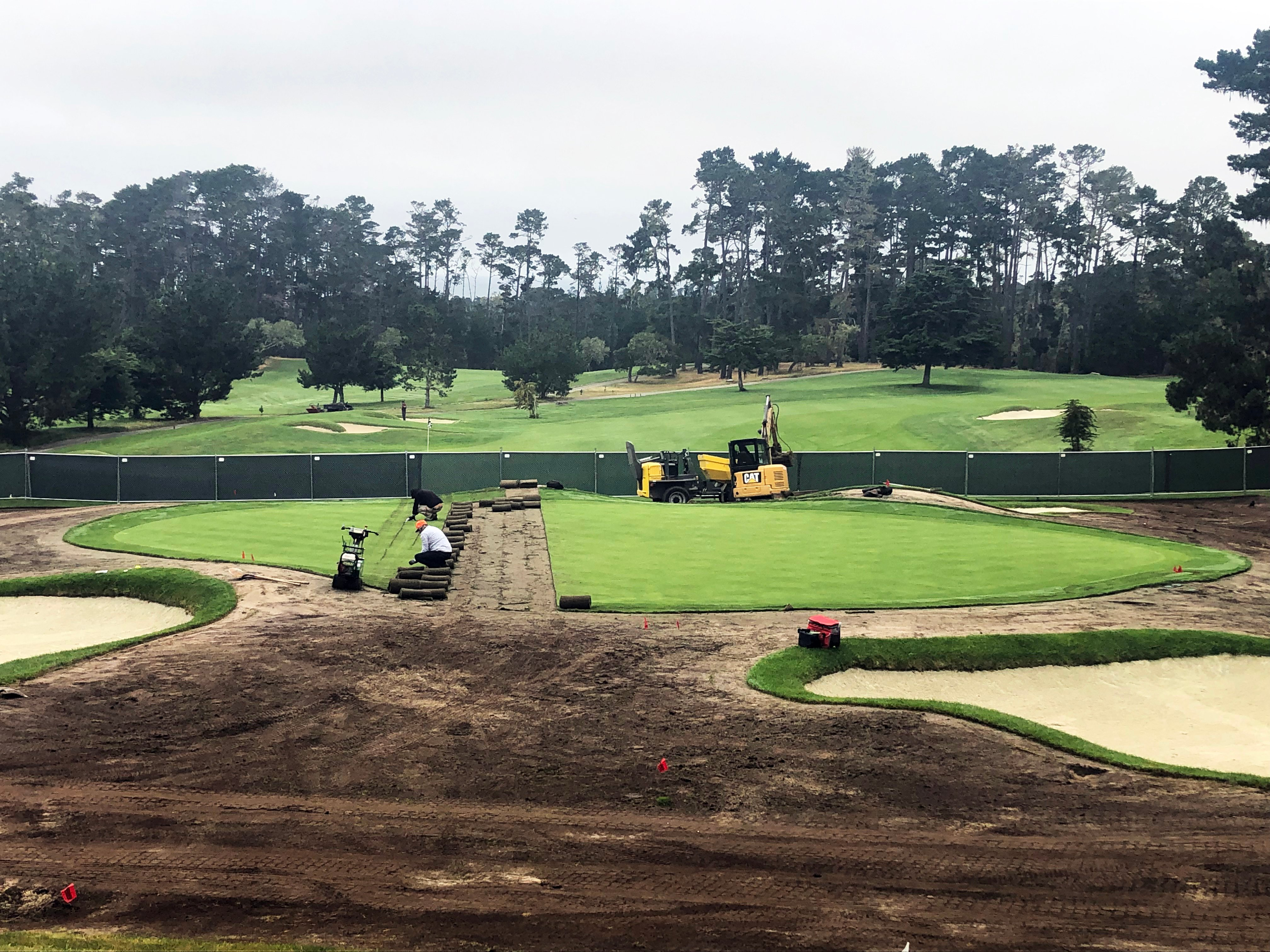 Man stripping sod from the 17th green at spyglass hill during renovation