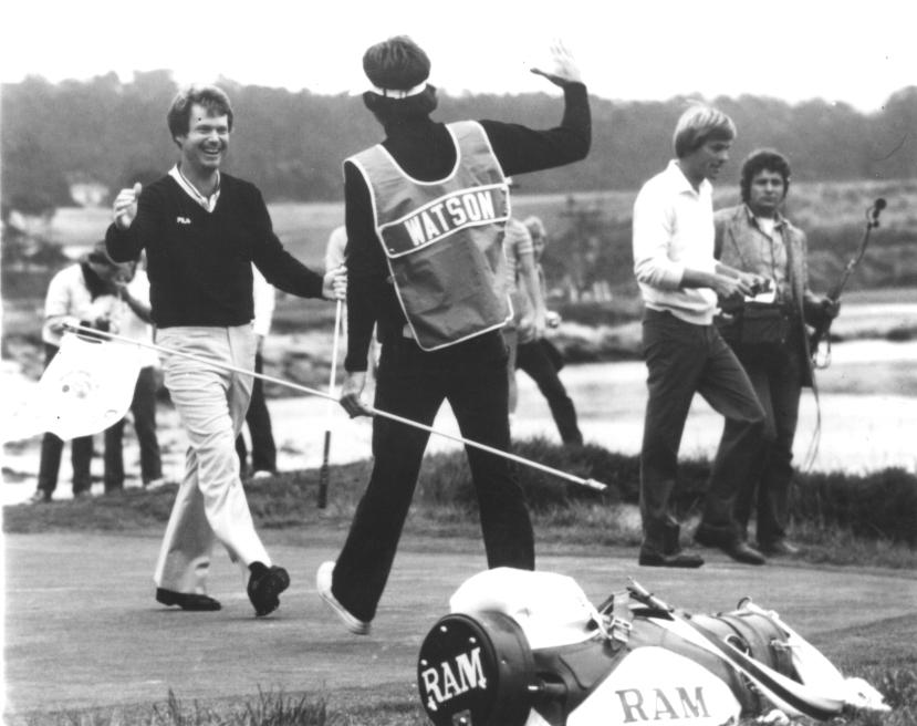 Tom Watson celebrates chip at 1982 U.S. Open