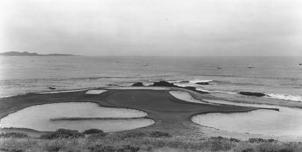 A view of the intimidating seventh green in 1965.