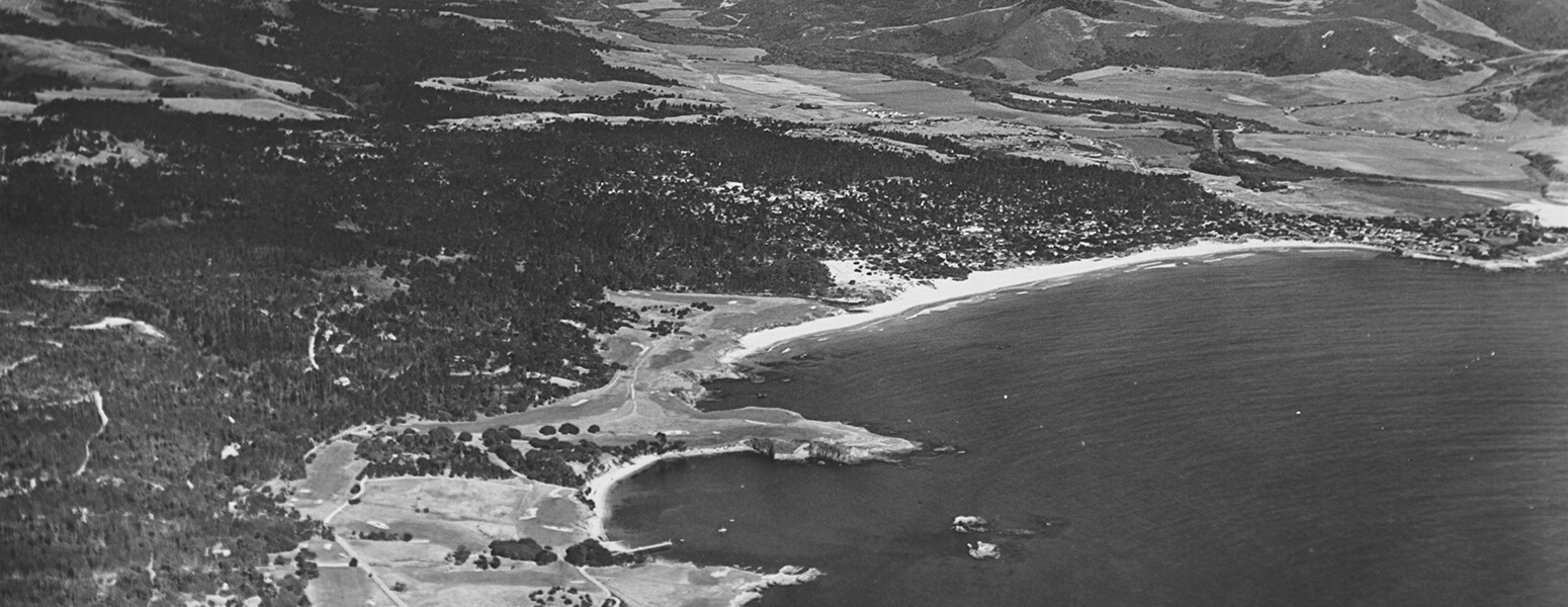 black and white aerial view of pebble beach golf course