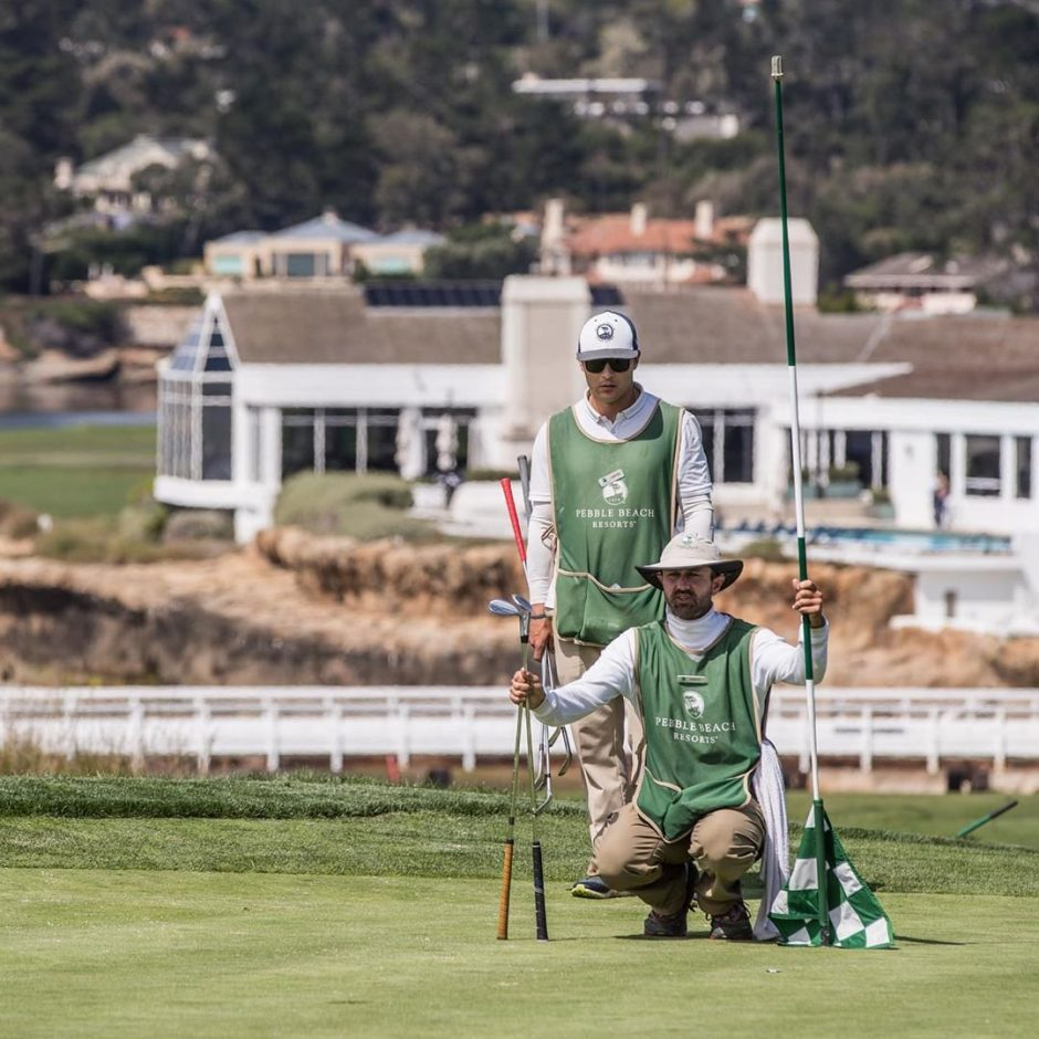 Pebble Beach Caddies lining up shot