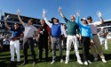 Group of Golfers holding trophies