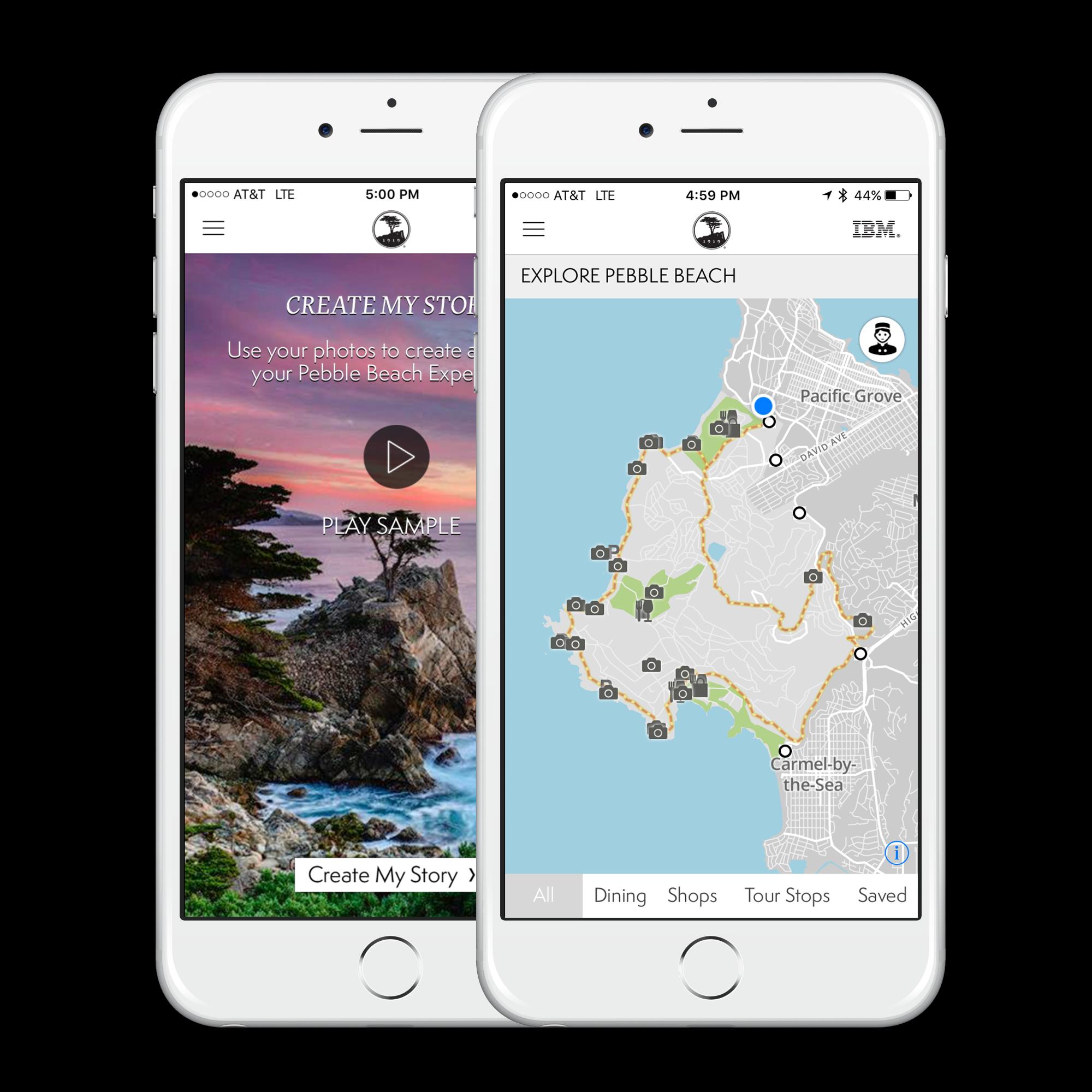 the pebble beach app on iphones