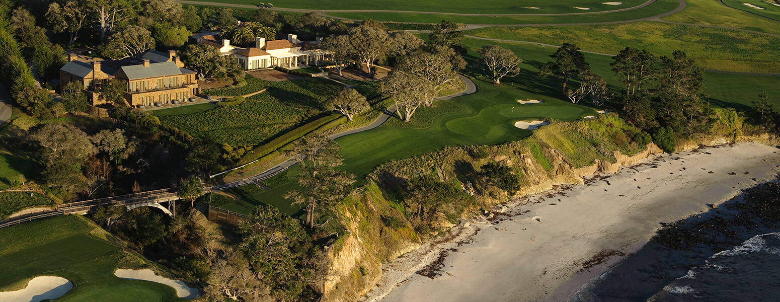 aerial view of 5th hole at pebble beach resort