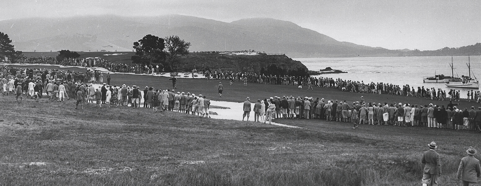 Black and white image of past amateur tournament at Pebble Beach