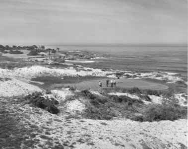 black and white photo of pebble beach