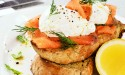 Smoked salmon and egg brunch plate