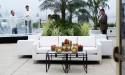 White sofa on patio