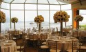 Wedding table seating with view of ocean